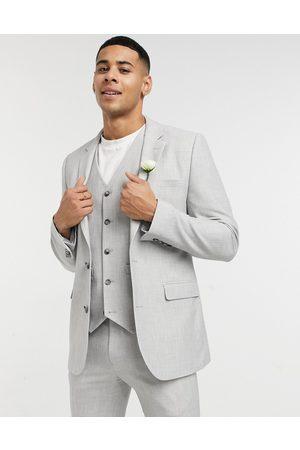 ASOS Muži Saka - Wedding super skinny suit jacket in ice grey micro texture