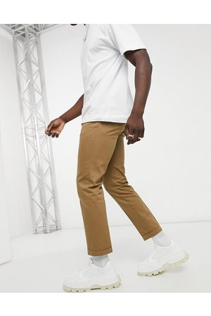 Burton Muži Chino - Slim cropped trousers in tan