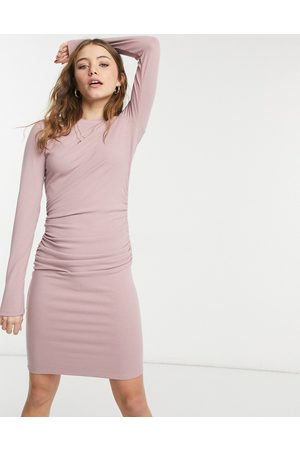 NA-KD Ruched rib jersey mini dress in dusty pink-White