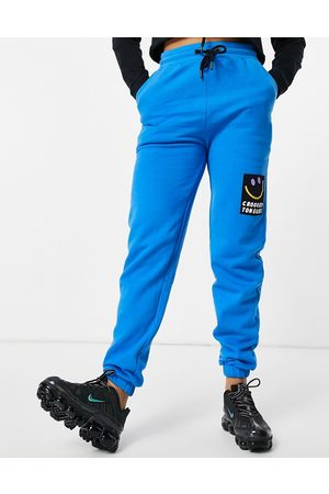 Crooked Tongues Co-ord jogger with badge logo in bright blue