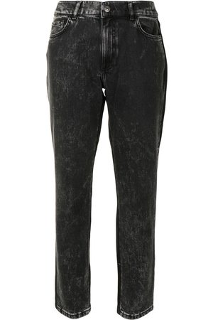 Twin-Set High-rise cropped two-tone jeans