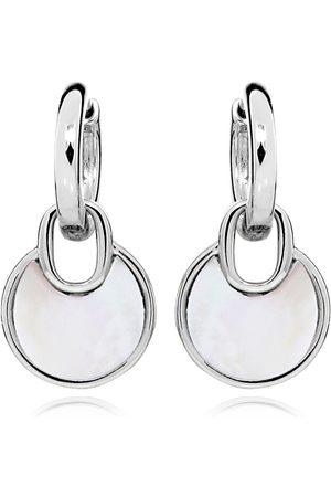 JVD Elegantní stříbrné náušnice kruhy s perleťovými přívěsky SVLE0347SH8PL00