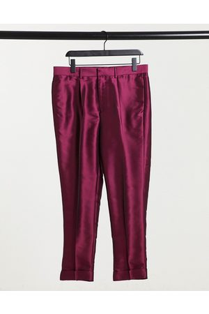 ASOS Muži Chino - Tapered smart trousers in pink sateen with turn up