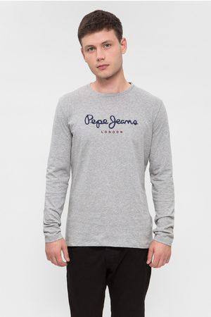 Pepe Jeans Muži S dlouhým rukávem - Pánské světle šedé tričko Eggo