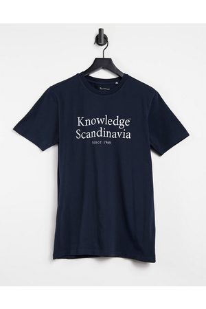 Knowledge Cotton Apparal Organic cotton t-shirt in navy