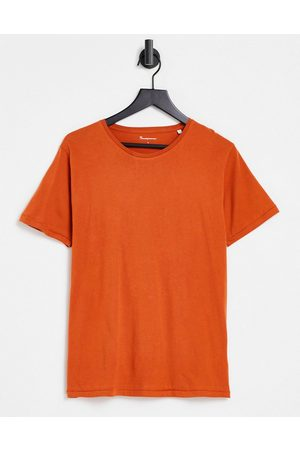 Knowledge Cotton Apparal Organic cotton t-shirt in rust-Orange