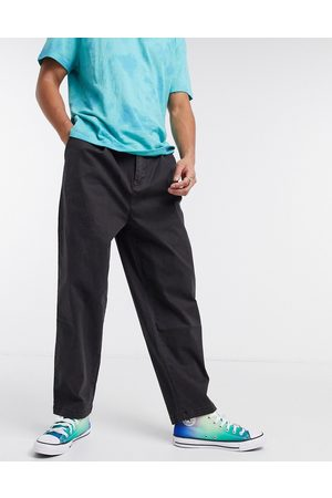 ASOS Muži Chino - Wide leg trousers with pleats in washed black