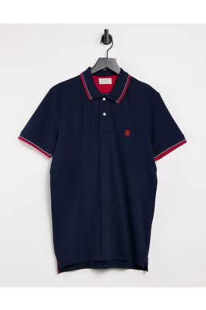 Selected Polo with tipping in navy & red-Multi