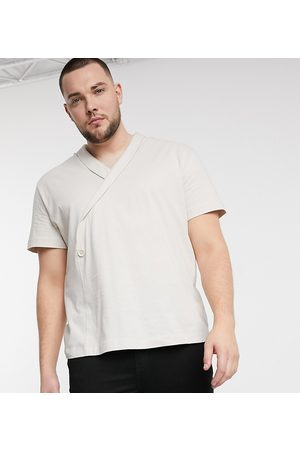 ASOS Plus relaxed fit wrap t-shirt in beige