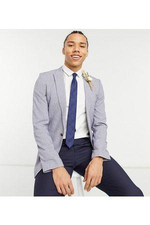 ASOS Tall wedding super skinny suit jacket in dark grey cross hatch