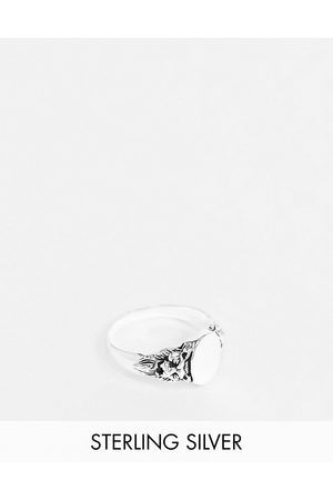 ASOS Sterling silver signet ring with lion design in burnished silver