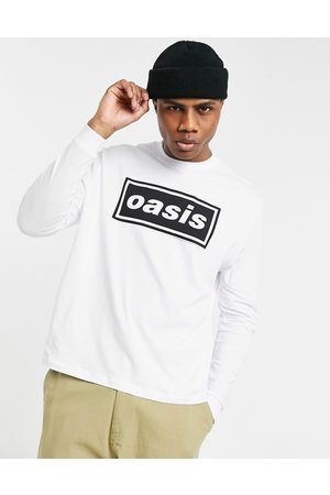 ASOS Oasis relaxed long sleeve t-shirt with front print in white