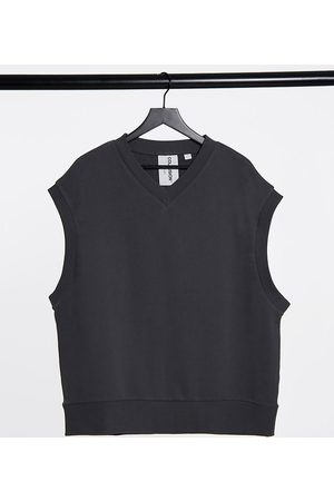 COLLUSION Unisex oversized sleeveless sweatshirt in charcoal co-ord-Grey