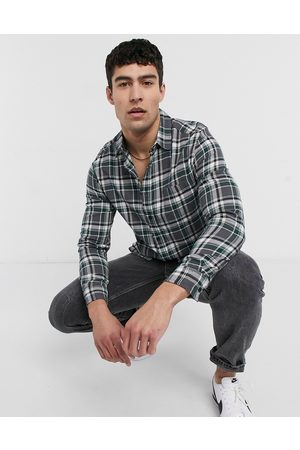 ASOS Brushed flannel check overshirt in grey and green