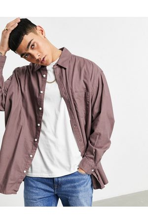 ASOS Extreme oversized flannel shirt in taupe-Brown
