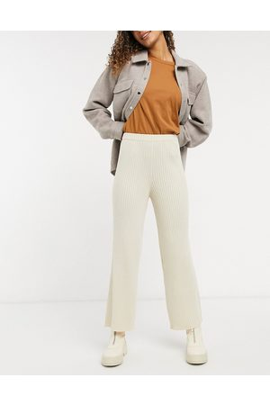 Monki Ženy Široké nohavice - Calah rib trousers in off white