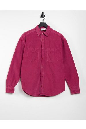 ASOS 90s oversized chunky cord shirt with embroidery detail-Red