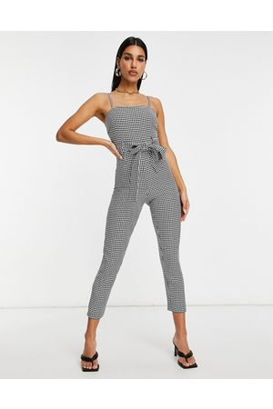 ASOS Strappy belted jumpsuit in houndstooth crepe-Multi