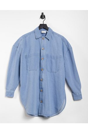 ASOS Extreme oversized denim overshirt in bleach wash with mockhorn buttons-Blue