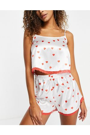 I saw it first Satin lace trim cami top and short pyjama set in red heart print-Pink