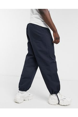 ASOS Wide fit carpenter trousers in navy