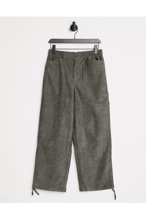 ASOS Carpenter trousers in khaki cord-Green