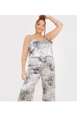 In The Style X Lorna Luxe satin contrast trim pyjama cami and trouser set in navy multi