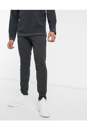Only & Sons Stretch smart trouser in dark grey pinstripe