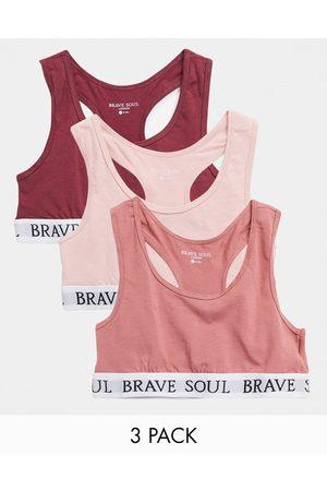 Brave Soul Ženy Bez ramínek - 3 pack racerback bralette in rose pink-Multi