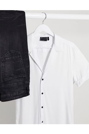 ASOS Muscle viscose shirt with low revere in white