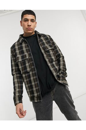 Mauvais Soft touch overshirt in check-Multi