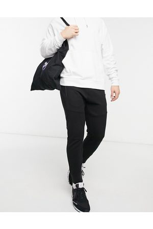 Pull&Bear Ottoman textured joggers in black