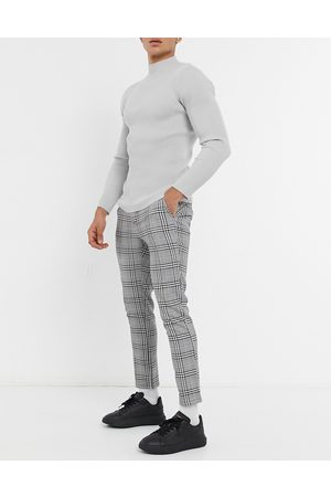 ASOS Skinny trousers in check with elasticated waist-Black