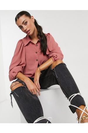 ASOS Batwing blouse with horn buttons in pink