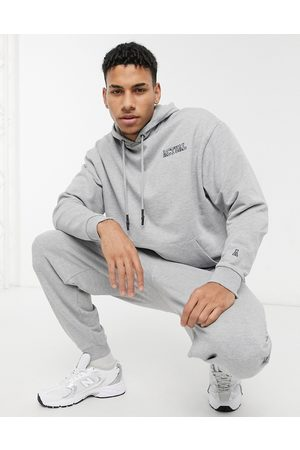 ASOS Muži Teplakovka - Oversized tracksuit in grey marl with embroidery