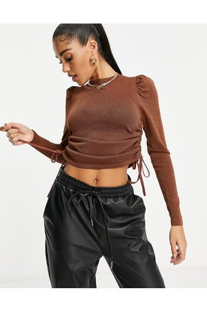 ASOS High neck jumper with ruched side detail in brown