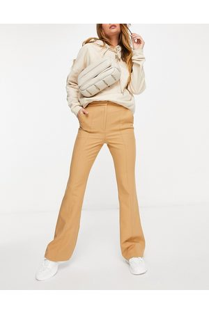 ASOS Slim kick flare trousers with seams in camel-Beige