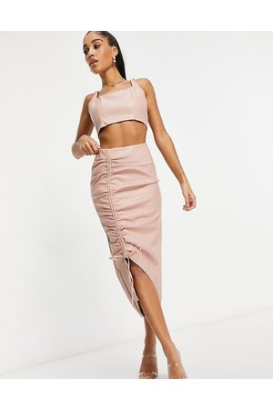 Missguided Co-ord faux leather midi skirt with ruched detail in blush-Pink