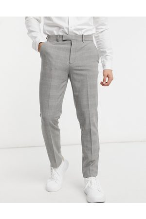 Burton Check trousers in grey-Navy