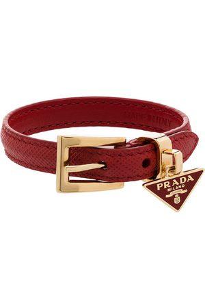 Prada Triangle-logo leather bracelet