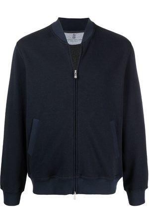 Brunello Cucinelli Muži Bombery - Ribbed collar zip up sweater