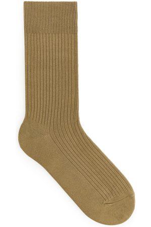 Arket Supima Cotton Rib Socks - Beige