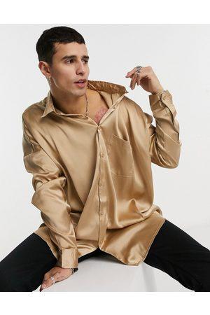 ASOS Muži Volnočasové - Oversized satin shirt in brown