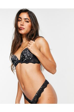 ASOS Fliss satin & lace padded underwire bra in heart print-Multi