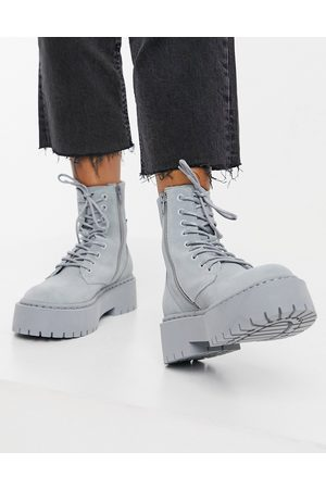 Steve Madden Skylar chunky lace up boots in grey suede