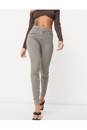 ASOS Ženy S vysokým pasem - High rise ridley 'skinny' jeans in grey