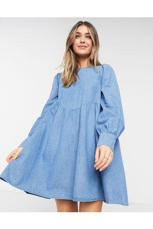 ASOS Soft denim puff sleeve smock dress in midwash-Blue