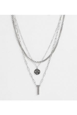Reclaimed Vintage Inspired multirow necklace with roman medallion-Silver