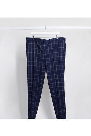 Harry Brown Plus slim fit window pane check suit trouser-Navy