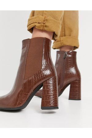 SIMMI Shoes Simmi London block heeled ankle boots in tan croc